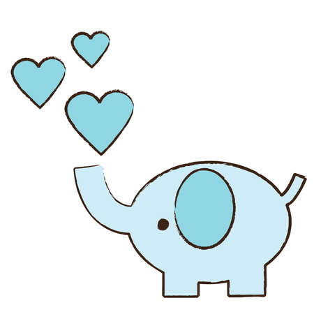 Baby pink elephant blowing hearts