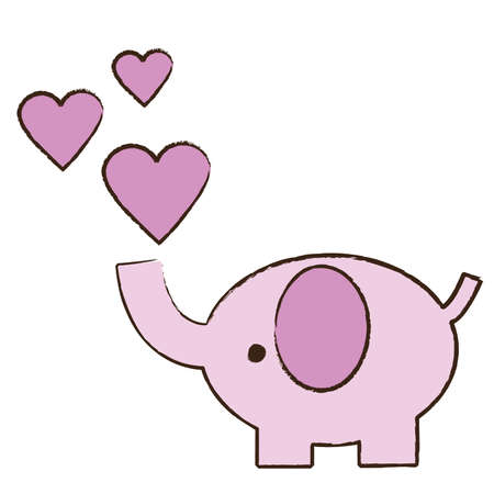 blowing: Baby pink elephant blowing hearts
