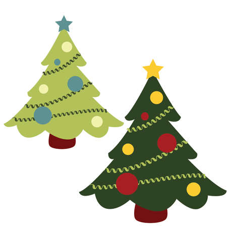 Simple Christmas Trees with Garland