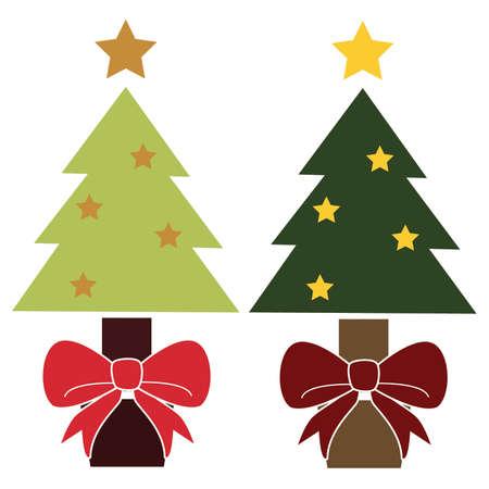 Leuke eenvoudige Vintage Gekleurde Kerstbomen