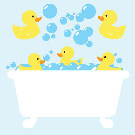 blue rubber ducky bubble bath Stock Illustratie
