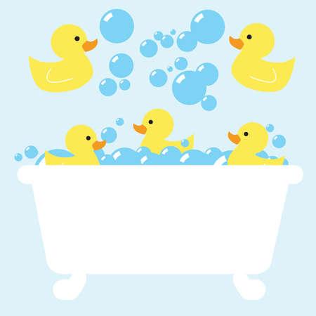 blue rubber ducky bubble bath Ilustração
