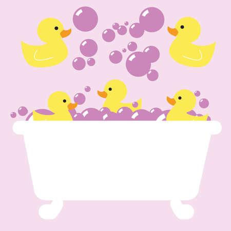 Pink Rubber Ducky bain à bulles Banque d'images - 43558776