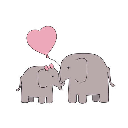 Mother and Baby Girl Elephant with Blue Heart Balloon