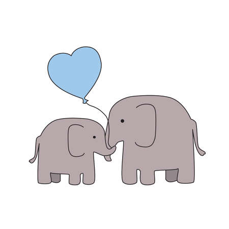 mother and baby: Mother and Baby Boy Elephant with Blue Heart Balloon
