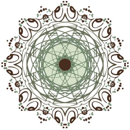 Green and Brown Mandala Иллюстрация