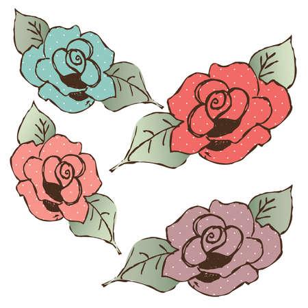 Hand Getrokken Shabby Chic Pastel Polka Gestippelde Roses Stock Illustratie