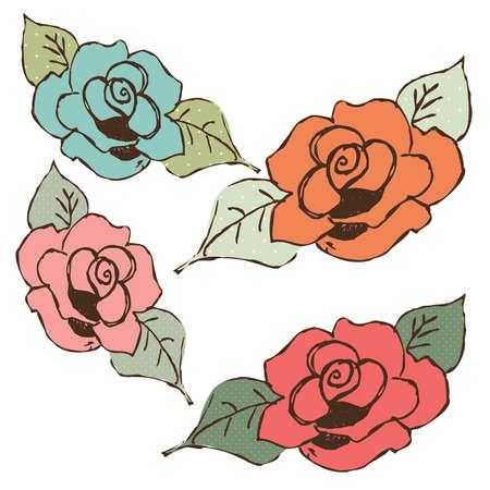 手描きぼろぼろのシックなパステル調のバラ  イラスト・ベクター素材