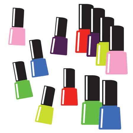 Simplified colorful nail polish bottles