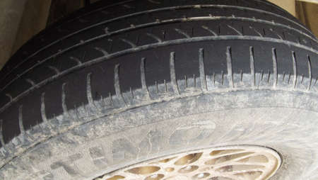 Very Worn Car and auto tire tread