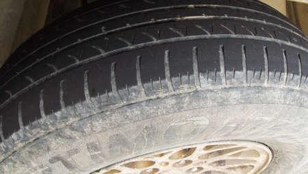 tire tread: Very Worn Car and auto tire tread