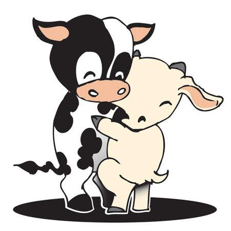 chibi: Handdrawn Cute Chibi Cow and Goat Hugging Cartoon Vector