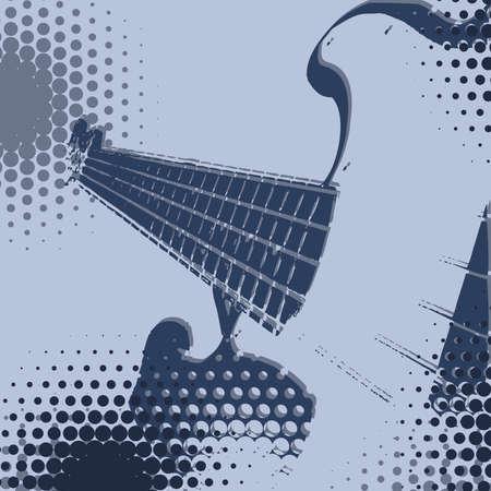 Blue Halftone Guitar Pop art backgroud