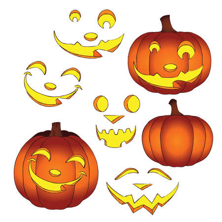 Glowing Halloween Jack-o-Lanterns with interchangeable Faces