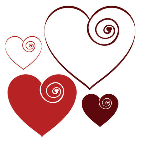 Red Romantic Swirl Valentine Hearts set 2 Иллюстрация