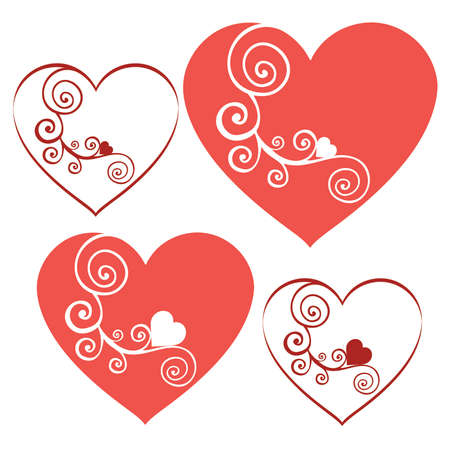 Red Romantic Swirl Valentine Hearts set 1