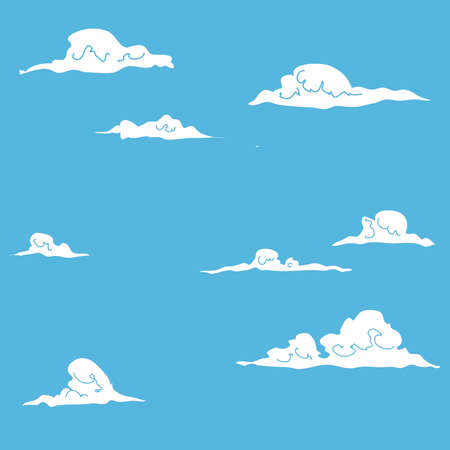 Hand Drawn Squiggle Clouds in Blue Sky Background