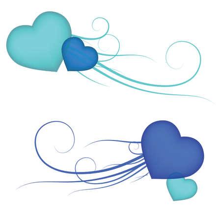 Blue see thru Valentine hearts