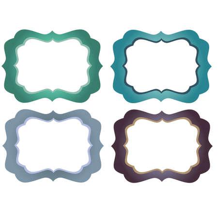Green Blue and Purple Ornate  Decorative Frames