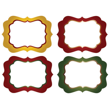 yelloow: Red, yellow and Green Ornate  Decorative Frames
