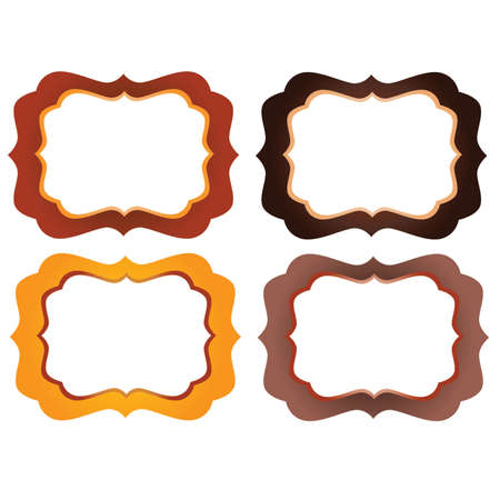 marcos decorativos: Orange, yellow and Brown Ornate  Decorative Frames Vectores