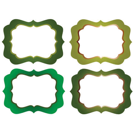 marcos decorativos: Green Ornate  Decorative Frames Vectores