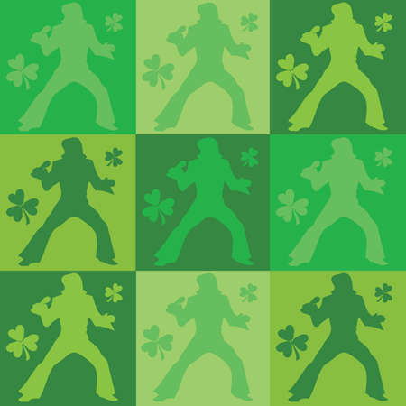 Green St Patricks Elvis Impersonator Dancer Seamless Background