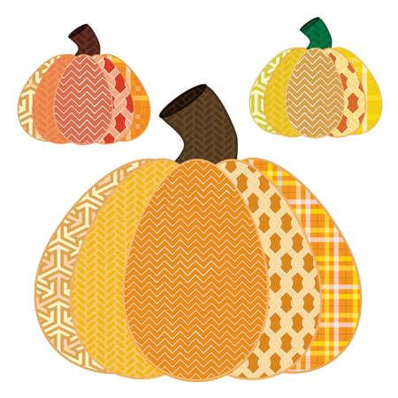 Cute Patterened Fall Pumpkins Иллюстрация
