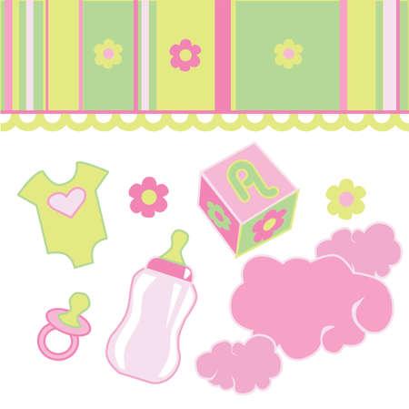 핑크와 초록색 베이비 샤워는 요소를 초대