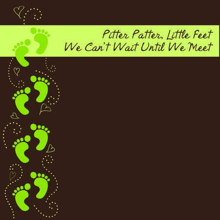 patter: Pitter Patter Little Feet Green and Brown Baby Shower Invite Illustration