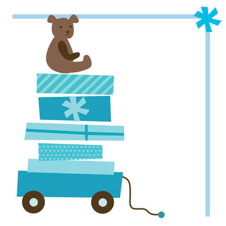 baby bear: Boy Baby Shower Gift Wagon with Bear and Bow