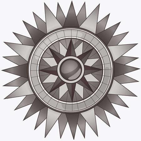 Black and White Vintage Compass Ilustração