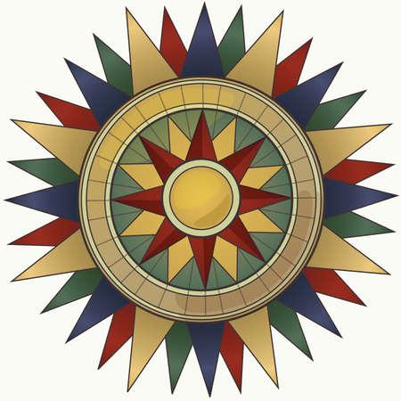 Vintage Colored Compass Ilustração