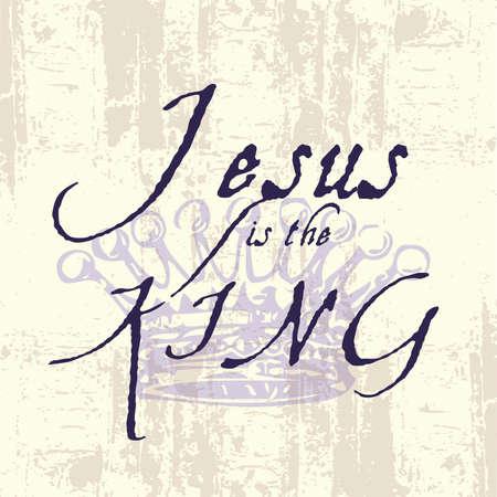 Jezus, de typografie Koning Inspirational Grunge Stock Illustratie