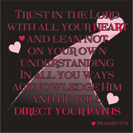 proverbs: Proverbs 3:5-6 Inspirational Scripture Typography on Black Background