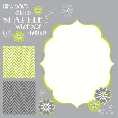 lime green: Girls Leave Sparkle Girl Baby Shower Invite Elements in Lime Green and Grey