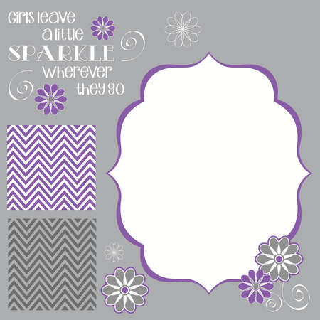 Girls Leave Sparkle Girl Baby Shower Invite Elements in Purple and Grey