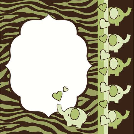 ライム グリーンと茶色のシマウマ、ゾウの赤ちゃんシャワー招待要素