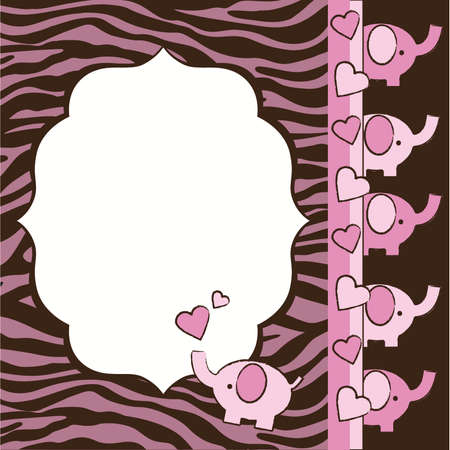 Pink and Brown Zebra and Elephants Baby Shower Invite Elements Ilustração