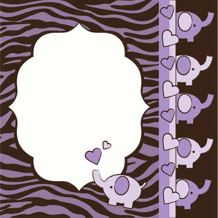紫と茶色のシマウマとゾウの赤ちゃんシャワー招待要素  イラスト・ベクター素材