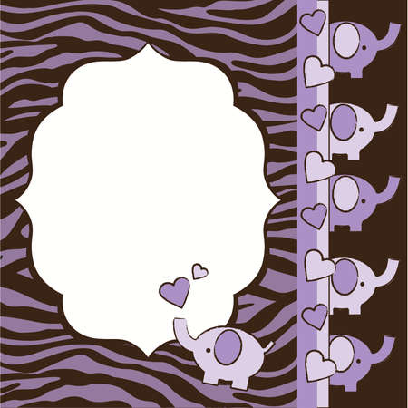 Purple and Brown Zebra and Elephants Baby Shower Invite Elements Ilustração