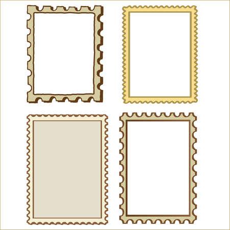 biege: Set of Four Stamp border Frame Elements