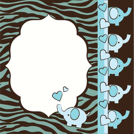 青と茶色のシマウマとゾウの赤ちゃんシャワー招待要素