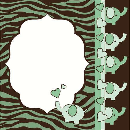 녹색과 갈색 얼룩말과 코끼리 베이비 샤워 요소를 초대 일러스트