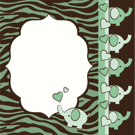 Green and Brown Zebra and Elephants Baby Shower Invite Elements Illustration