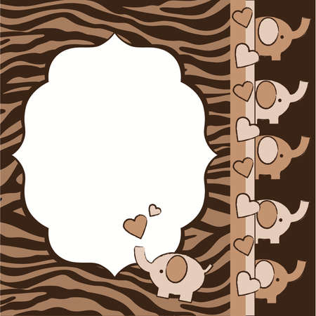 Rusty Brown Zebra and Elephants Baby Shower Invite Elements
