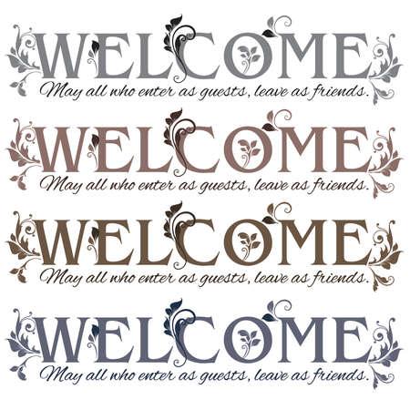 Bloemen Voer als welkome gasten, verlaten als vrienden Banner in vier kleuren Stock Illustratie