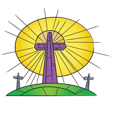 Vitraux de Pâques Croix sur une colline Banque d'images - 54756590