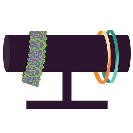display: Bracelet Jewelry Display with Bracelets in Purple