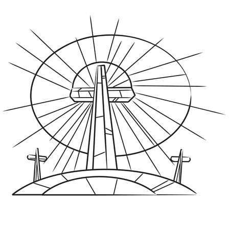crosses: Coloring book Stained Glass Easter Crosses On a Hill Illustration
